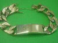 9CT GOLD CURB IDENTITY BRACELET WITH SAFETY CHAIN
