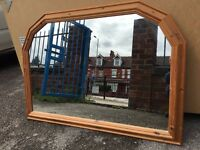Large Pine Mirror - Large Pine Over Mantle Mirror - Good Condition - Must Go