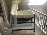 MJ Mark Brown/Cream Wicker Crib