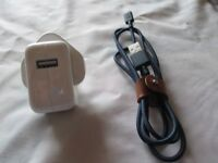 Apple mains power adapter and USB cable