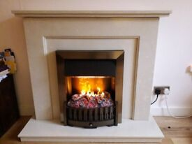 Micro marble fireplace / fire surround champagne colour