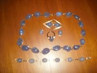 Chalcedony Stone & 9CG Bracelet, Ring, Ear Rings Brooch & Necklace. Reduced for quick sale.