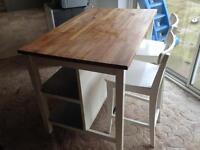 Ikea Oak Top Bfast Bar & Stools x2