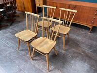 4x Model 391 Windsor Stick Back Chairs in Elm & Beech by Ercol. Retro Vintage Mid Century