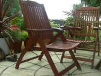 4 CLEAN NEW FOLDING, RECLINING TEAK GARDEN CHAIRS WITH ARMS
