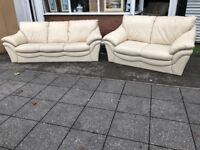REAL LEATHER SOFA SET 3+2 SEATER USED VERY COMFY