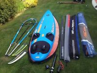 Bic Techno 150 litre windsurfer package with two sails, mast etc