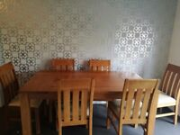 Oak dining table and six chairs 120 ono