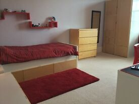 Bed and bedroom furniture set white and beech IKEA. Single bed, wardrobe, chest of drawers, unit