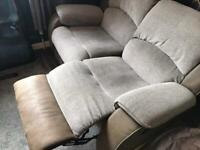 Grey two seater recliner sofa