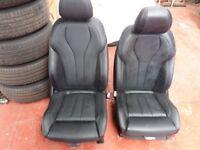 Black leather car seats
