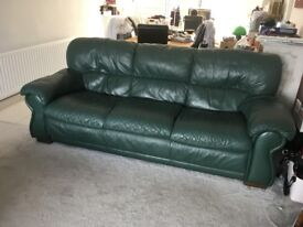Leather sofa 3,2,1 sofa suite, green, from Furniture Village. Good quality