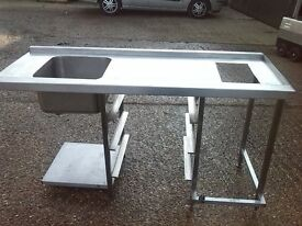 COMMERCIAL DISHWASHER SINK 160x64cm HEIGHT 90 cm