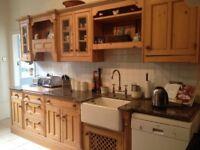 Solid Wood Antique Pine Kitchen, Granite Work Top, Belfast sink & Bosch dishwasher