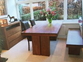 BARKER AND STONEHOUSE WALNUT DINING ROOM TABLE, BENCH, TWO LEATHER CHAIRS &TWO SIDEBOARDS RRP £4,750