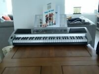 Electronic Keyboard. Power supply, Meike MK939, Headphone socket, Midi out socket, R and L out