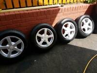 SET OF 15' ALLOYS WITH TYRES 195/65/15 5X112 5X100 FITMENT AUDI VW