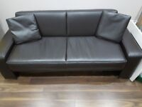 DARK BROWN FAUX LEATHER RECLINING SOFA BED