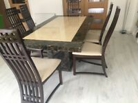 Marble dining table with chairs