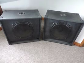 "A pair of 15"" disco bass speakers"