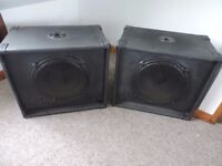 """A pair of 15"""" disco bass speakers"""
