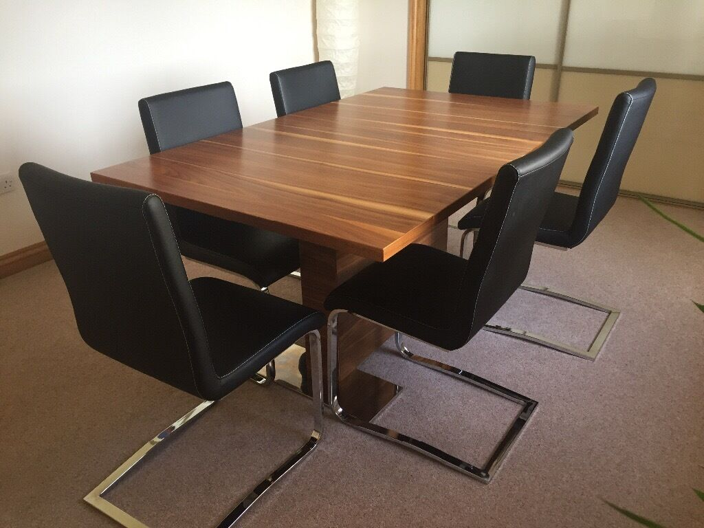 Walnut chrome dining table 6 black leather chairs in for Dining table leather chairs