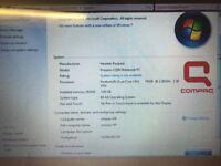 HP Compaq Laptop Windows 7 3GB RAM 300GB HDD Dual Core Processor 15.4 Screen