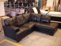 Black leather DFS corner sofa 220cm x 190cm