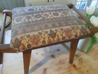 Vintage mid century 50's upholstered wooden piano dressing table foot stool seat Moroccan style