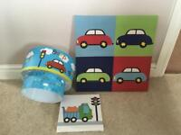Car lampshade and wall pictures