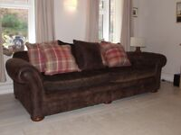 Large Chocolate Brown Suede Leather Sofa