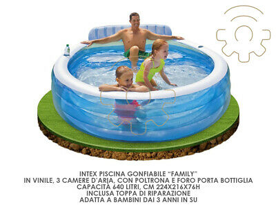 Intex 57190 Inflatable Pool Family cm 224 x 216 x 76 H 640 Litres Game Eastern