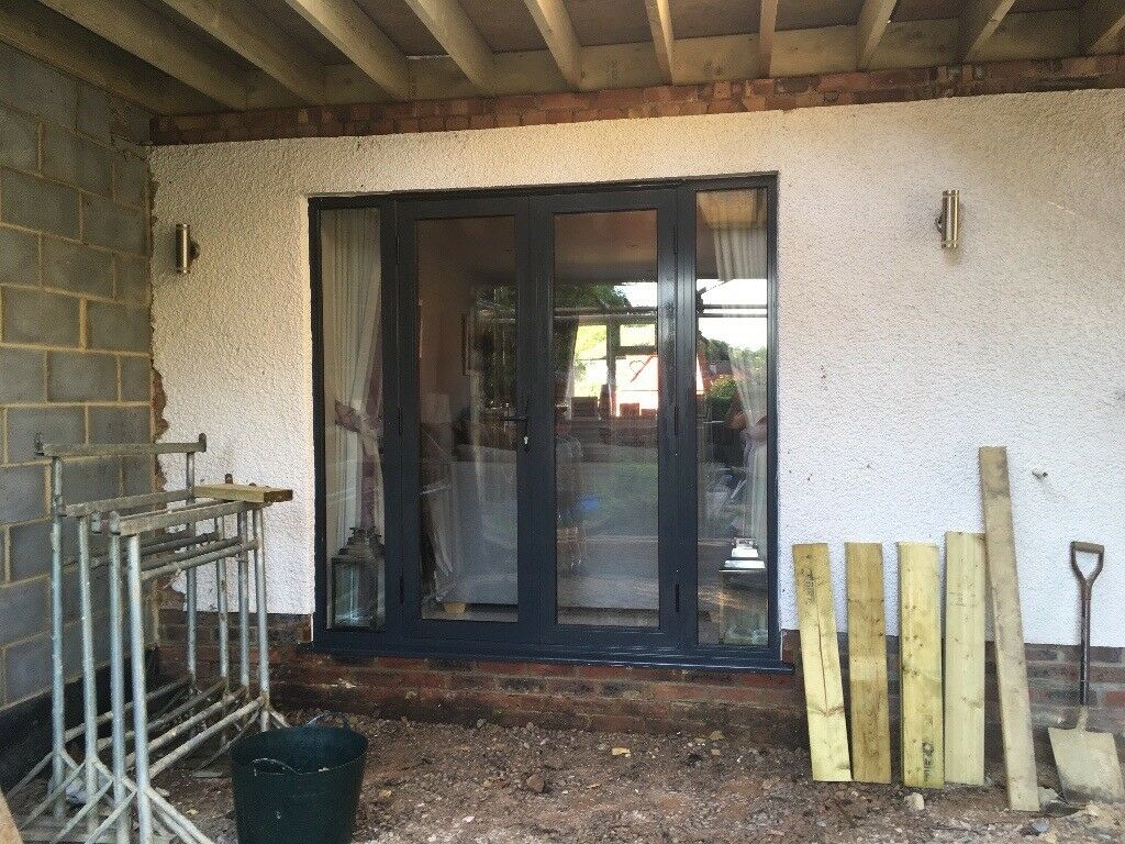 Black Alitherm French Doors Internal Width 2108mm X Height 2060mm Opening Outwards