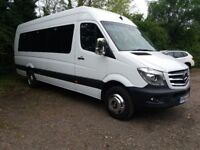 16 Seater minibus with driver.