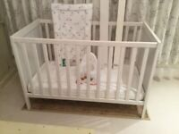 Ikea Sundvik white cot as new 2 height settings, removable side, guard rail mattress included £45