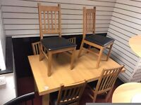 Extendable Table and 6 Wooden chairs (2 different designs)