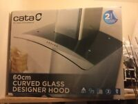60cm Silver curved glass designer cooker hood. New in box