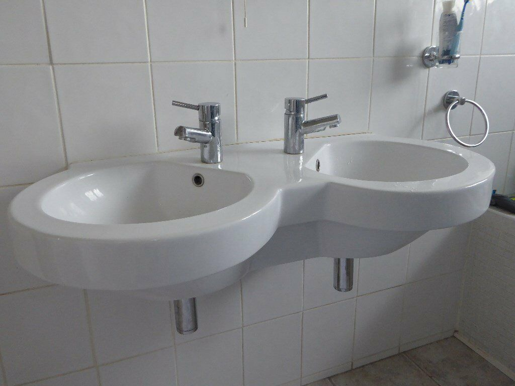 Twin bathroom sinks.