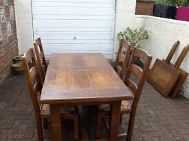 Great family Dining Table & Chairs plus bench Believed to be of French origin