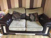 Brown & Beige 2 seater sofas
