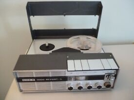 "uher 4000 report L,reel to reel four speed tape recorder,with mains power supply,plays 5"" tapes,£85."