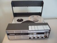 """uher 4000 report L,reel to reel four speed tape recorder,with mains power supply,plays 5"""" tapes,£85."""