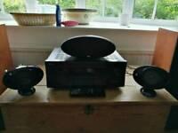 Onkya amp and 3 kef speakers