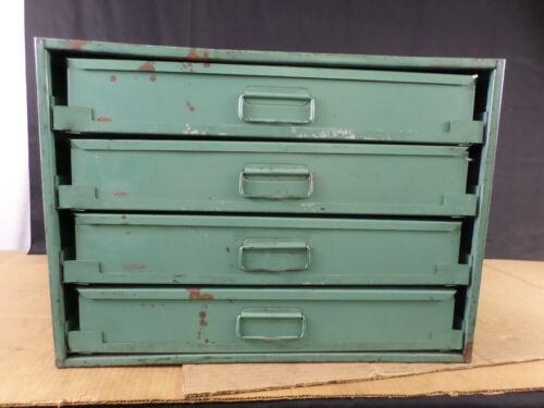 Vintage 4-Drawer Industrial Blue Metal Small Parts Storage Cabinet Bin Box