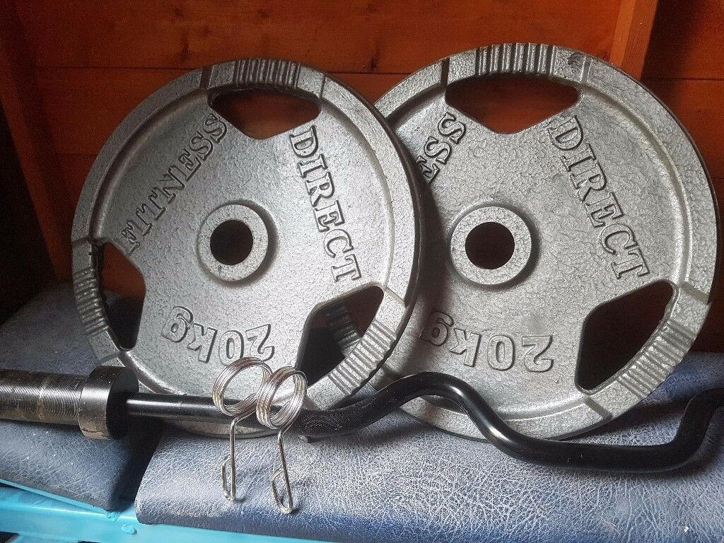Gym fitness weights 2x20kg with bar and clips
