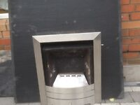GAS FIREPLACE WITH BASE SLATE 25 POUNDS poundS ,GOOD AND CLEAN