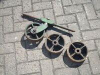 Antique Cast Iron Railway Trolley Wheels