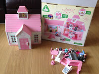 ELC Rosebud School wooden pink and white Toy Playset, boxed w/instructions