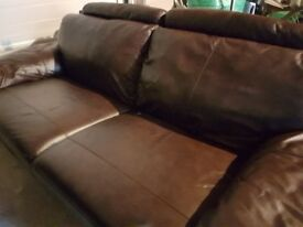 Two Brown Leather Contemporary Settees