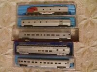 N gauge Santa fe diesel locomotive and coaches.
